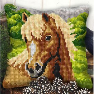 Borduurpakket kussen Paard - Orchidea