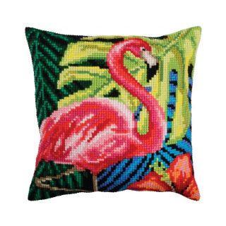 Kussen Pink Flamingo - borduurpakket Collection d'Art