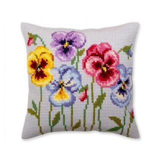 Kussen Pansies I - borduurpakket Collection d'Art