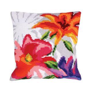 Kussen Stylish Flowers I - borduurpakket Collection d'Art