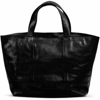 Lederen Mini shopper Hiba zwart - MUUD