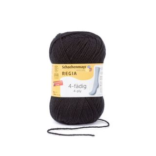 Regia sokkenwol 4-draads zwart 2066 - Schachenmayr