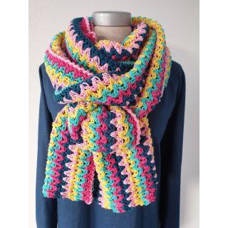 Haakpakket Vrolijke Strepensjaal blauw/geel/roze- Tante Setje